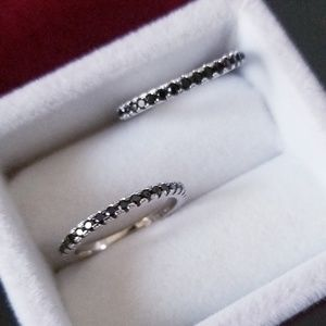 Jewelry - 2pcs Black Diamond S925 Sterling Silver Band Ring